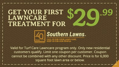 coupon for $29.99 off your first lawn treatment