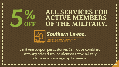 coupon for 5% off lawn services for active military